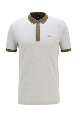 Poloshirt aus Baumwoll-Piqué mit Streifen-Einfassungen, Dunkelgrün