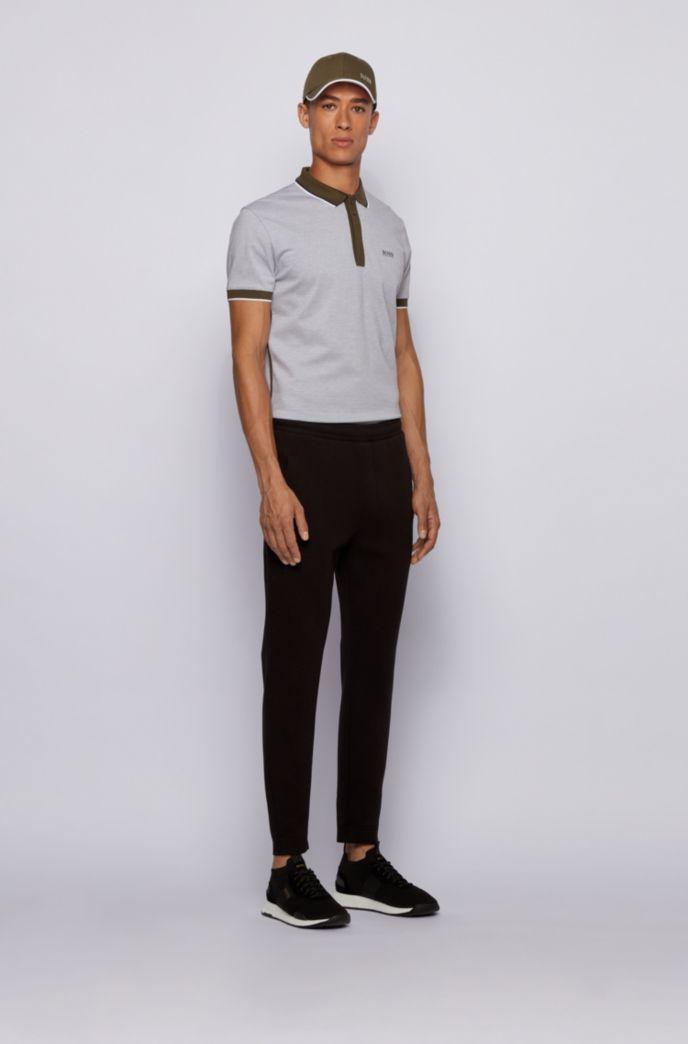 Cotton-piqué polo shirt with tipping stripes