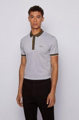 Cotton-piqué polo shirt with tipping stripes, Dark Green