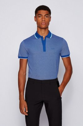 Cotton-piqué polo shirt with tipping stripes, Light Blue