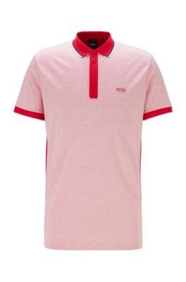 Poloshirt aus Baumwoll-Piqué mit Streifen-Einfassungen, Rot