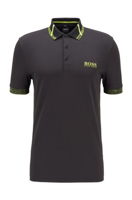 Slim-fit polo shirt in S.Café® fabric with stretch, Black
