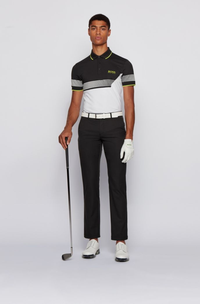 Slim-fit colour-blocked polo shirt with printed stripes
