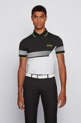 Slim-fit colour-blocked polo shirt with printed stripes, White