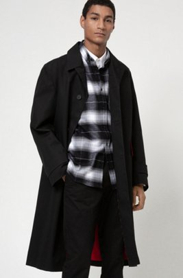 Relaxed-fit coat in water-repellent cotton, Black