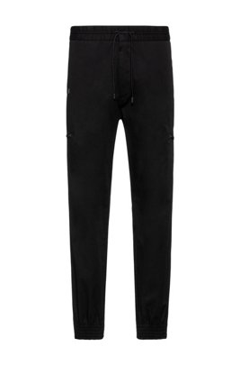 Slim-fit trousers in stretch cotton with cuffed hems, Black