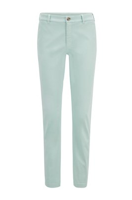 Regular-fit chinos in stretch-cotton satin, Turquoise