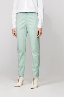 Chino regular fit in satin di cotone elasticizzato, Turchese