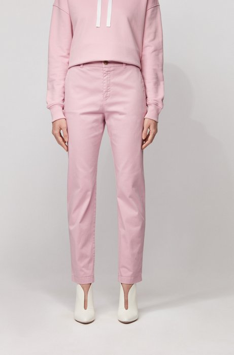 Regular-fit chinos in stretch-cotton satin, Light Purple