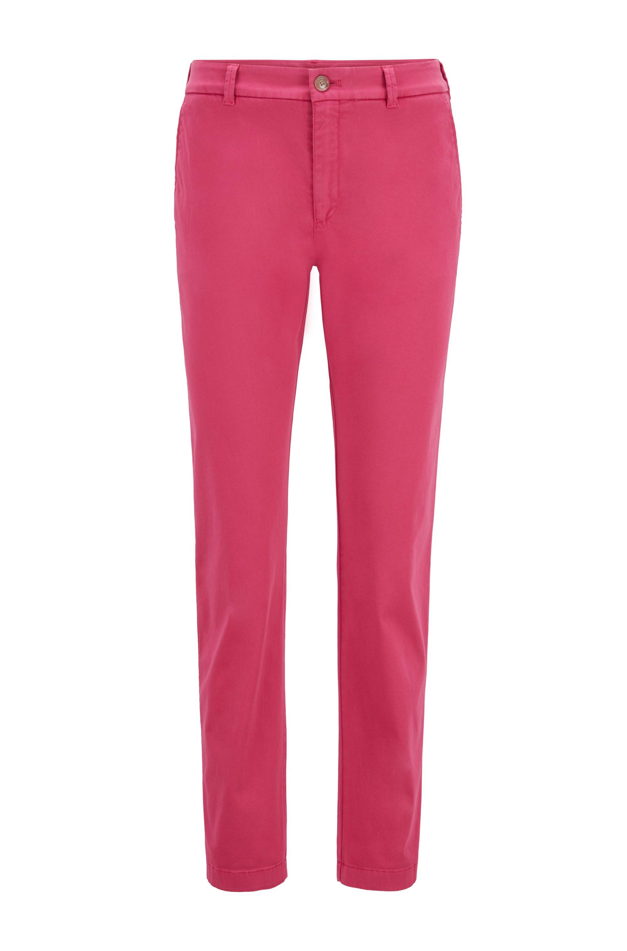 Regular-Fit Chino aus elastischem Baumwoll-Satin, Pink