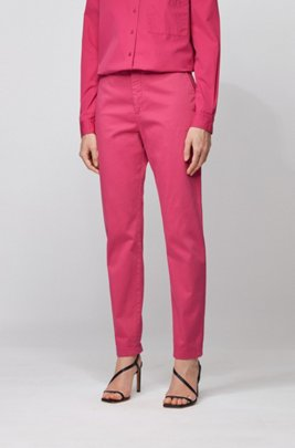 Regular-fit chinos in stretch-cotton satin, Pink
