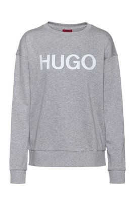 Logo sweater in organic-cotton French terry, Grey