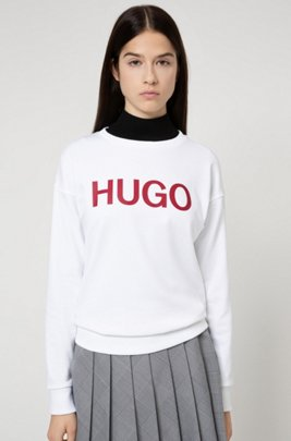 Logo sweater in organic-cotton French terry, Patterned
