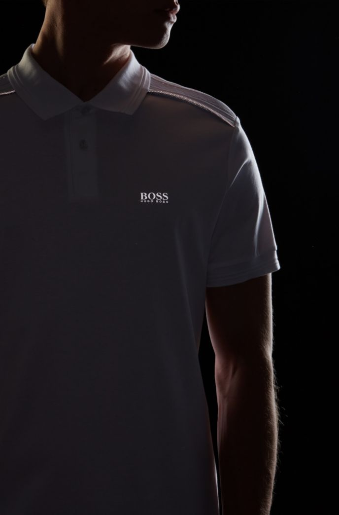 Slim-fit polo shirt in cotton with reflective details