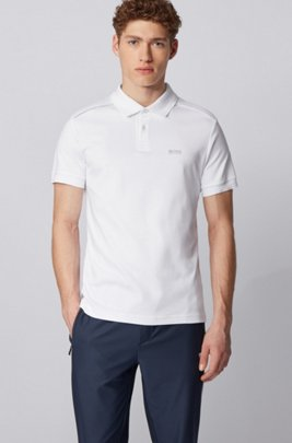 Slim-fit polo shirt in cotton with reflective details, White