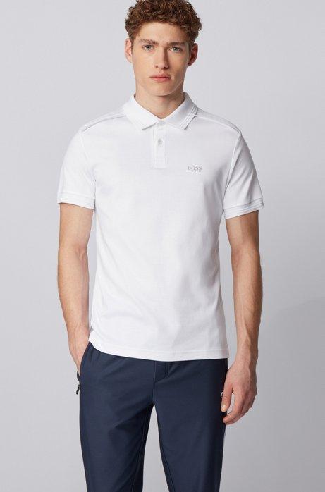 Polo slim fit in cotone con dettagli riflettenti, Bianco