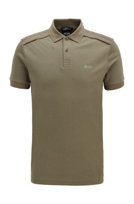 Slim-fit polo shirt in cotton with reflective details, ダークグリーン
