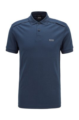 Slim-fit polo shirt in cotton with reflective details, Dark Blue