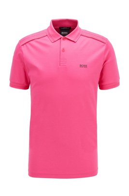 Slim-fit polo shirt in cotton with reflective details, Pink