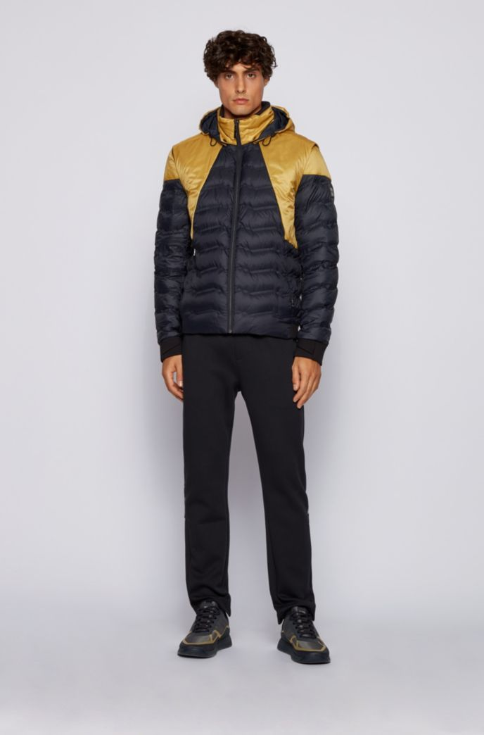 Colour-block down jacket with detachable sleeves and hood