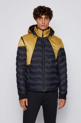 Colour-block down jacket with detachable sleeves and hood, Dark Blue