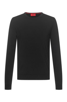 Slim-fit crew-neck sweater in merino wool, Black