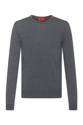 Slim-fit crew-neck sweater in merino wool, Dark Grey