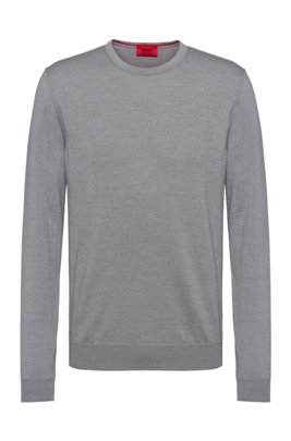 Slim-fit crew-neck sweater in merino wool, Silver