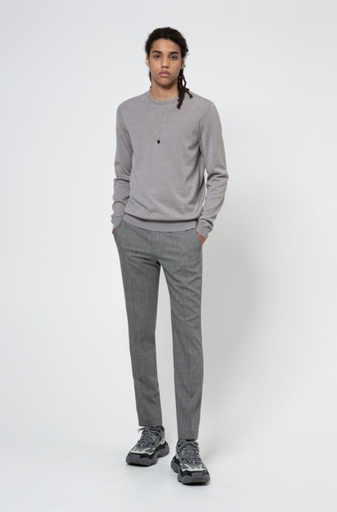 Slim-fit crew-neck sweater in merino wool