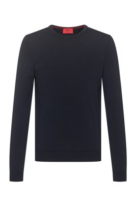 Slim-fit crew-neck sweater in merino wool, Dark Blue