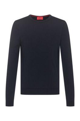 Slim-fit crew-neck sweater in merino wool, Dark Blue