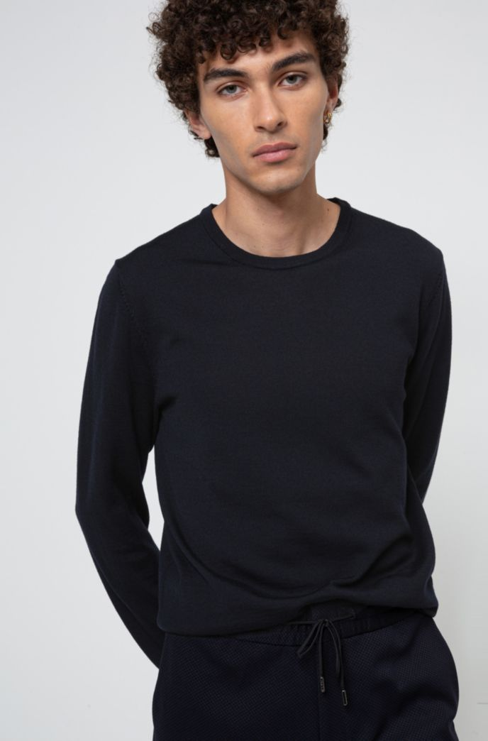 Slim-fit crew-neck sweater in merino wool