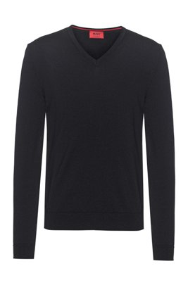 Slim-fit sweater in extra-fine merino wool, Black
