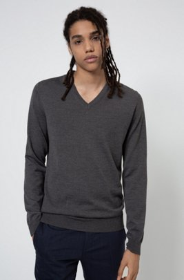Slim-fit sweater in extra-fine merino wool, Dark Grey