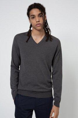 Pullover aus besonders feiner Merinowolle, Dunkelgrau