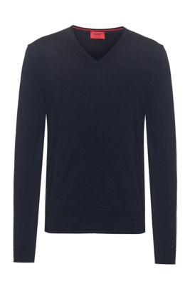Slim-fit sweater in extra-fine merino wool, Dark Blue