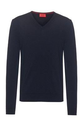 Pullover aus besonders feiner Merinowolle, Dunkelblau