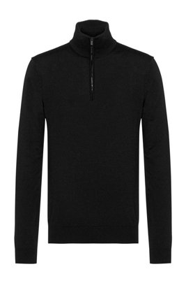 Slim-fit virgin-wool sweater with zip neck, Black