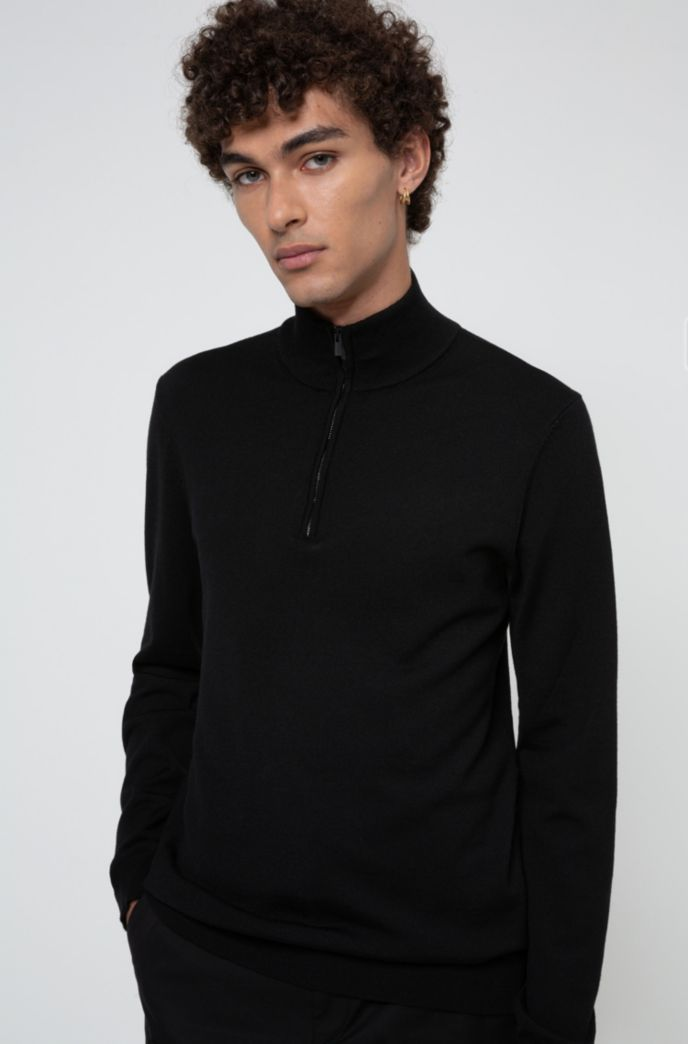 Slim-fit virgin-wool sweater with zip neck