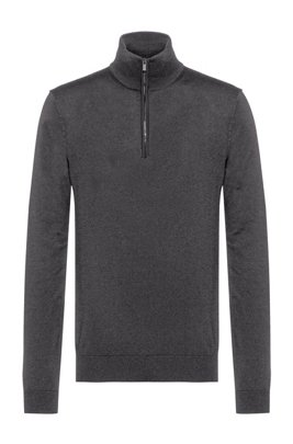 Slim-fit virgin-wool sweater with zip neck, Dark Grey