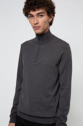 Pullover aus Schurwolle mit Reißverschluss am Kragen, Dunkelgrau