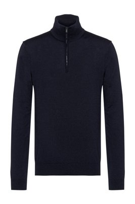 Slim-fit virgin-wool sweater with zip neck, Dark Blue