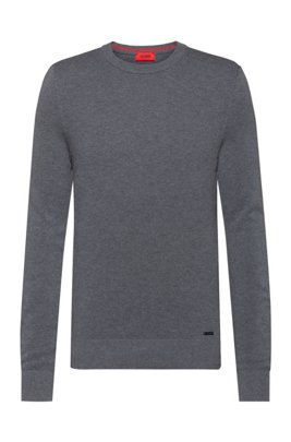 Crew-neck sweater in micro-structured cotton jacquard, Silver