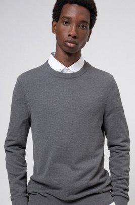 Pullover aus fein strukturiertem Baumwoll-Jacquard mit Rundhalsausschnitt, Silber