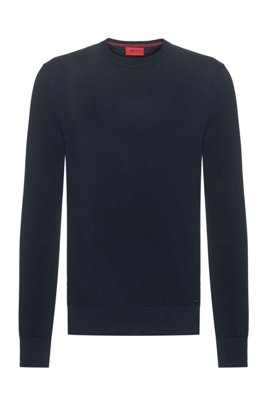 Crew-neck sweater in micro-structured cotton jacquard, Dark Blue