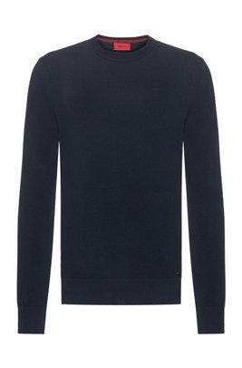 Pullover aus fein strukturiertem Baumwoll-Jacquard mit Rundhalsausschnitt, Dunkelblau