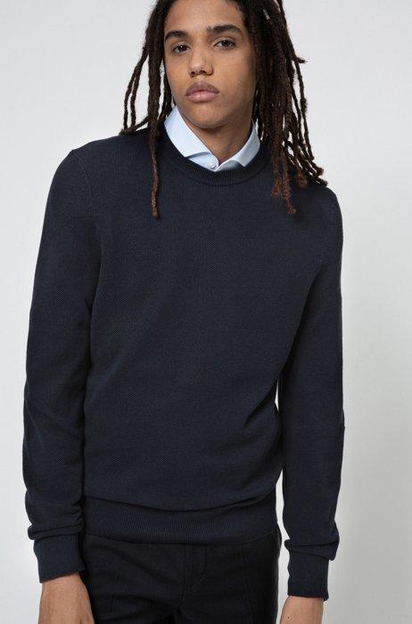 Crew-neck sweater in micro-structured cotton jacquard, Dark Blue