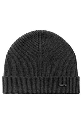 Fisherman's rib beanie hat in pure cashmere, Black
