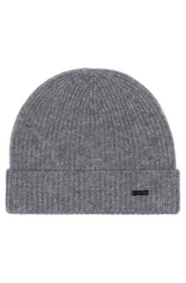 Fisherman's rib beanie hat in pure cashmere, Silver