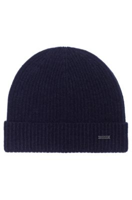 Fisherman's rib beanie hat in pure cashmere, Dark Blue